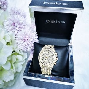 bebe Women's Gold Bling Rhinestones Watch